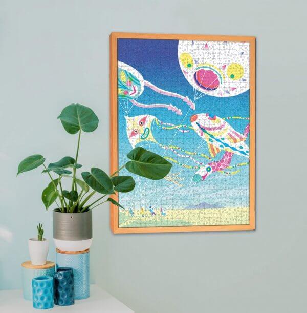 Daniela Olejníková ilustrácie šarkany na puzzle Pucle s dreveným rámom