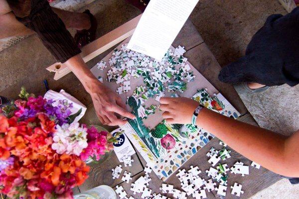 Puzzle kvetinový vzor Pucle Kristína Kemeníková