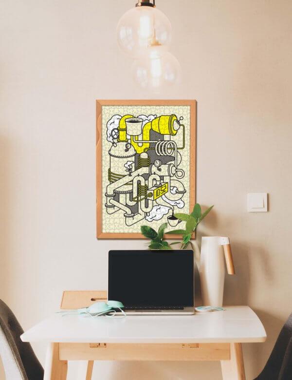Rudolf Letko Kávové Laboratórium Pucle puzzle v drevenom ráme na stene
