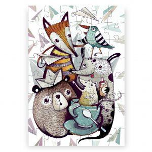 Destké ilustrované puzzle od slovenskej ilustrátorky Dominiky Šikulincovej - Lesná Crew