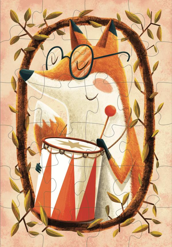 Ilustrovane detske puzzle od Adriana Macha a Mellow Lisiak Hudobnik 24 dielikov 48 dielikov puzzle Pucle skladacka