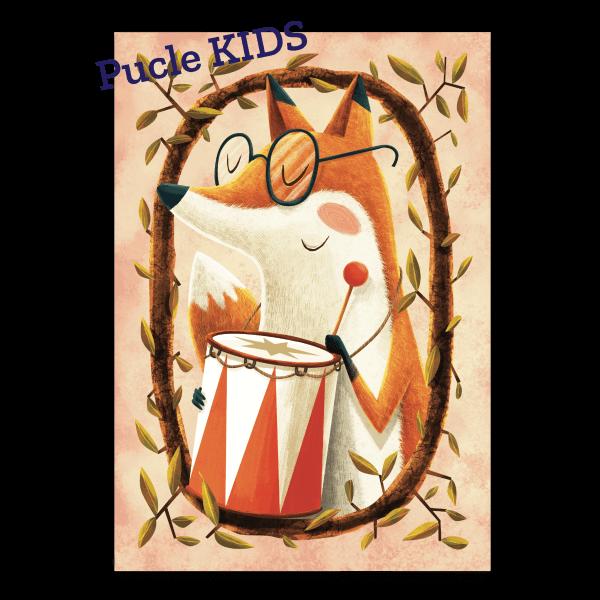 Ilustrovane detske puzzle od Adriana Macha a Mellow Lisiak Hudobnik 24 dielikov 48 dielikov puzzle