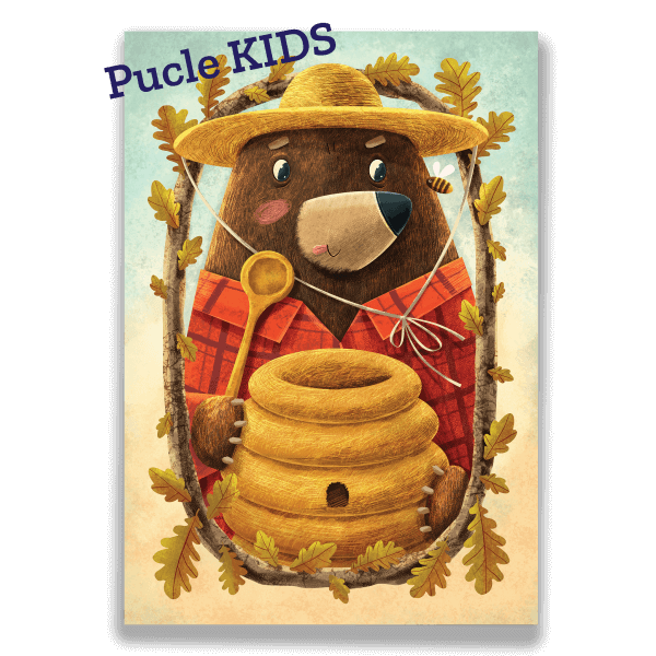 Ilustracia od Adriana Macha a Mellow Medved maskrtnik Pucle KIDS 24 a 48 dielikove puzzle