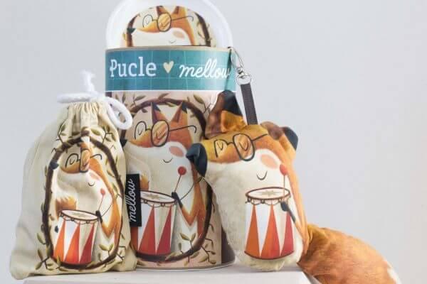 Ilustrovane detske puzzle od Adriana Macha a Mellow Lisiak Hudobnik 24 dielikov 48 dielikov puzzle Pucle skladacka cele balenie s priveskom a vrecuskom