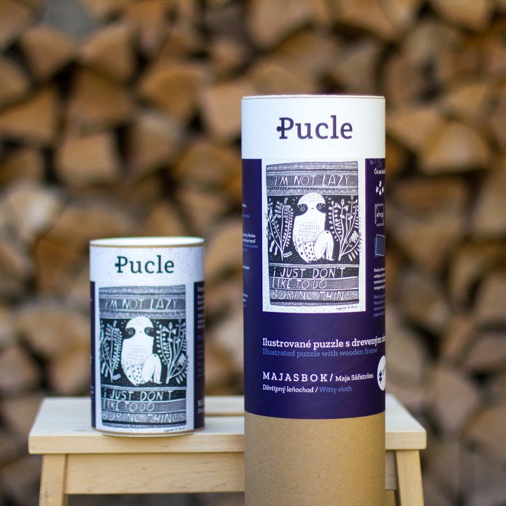 Ilustrované puzzle s dreveným rámom (na pravo) a balenie so samostatnými puzzle od ilustrátorky Maja Säfström